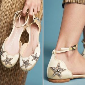 Lola Cruz Satin Star-Embellished Ballet Flats 39